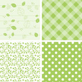 Set of green backgrounds - seamless pattern Royalty Free Stock Photos