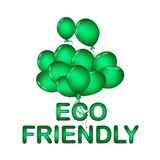 Set of green balloon for festival and party in happiness of life. With word. ECO FRIENDLY royalty free illustration