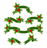 Set green banners. With holly for christmas decoration. Vector illustration Royalty Free Stock Photos