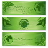 Set green banners for World Environment Day Royalty Free Stock Image