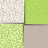 Set of green and beige seamless floral patterns. Vector illustration. Royalty Free Stock Photo