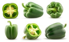 Set green bell pepper cut in half, whole royalty free stock image