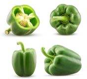 Set green bell pepper cut in half, whole. Isolated on white background. Clipping Path stock photos