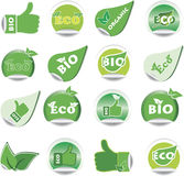 Set of green BIO and ECO stickers. Royalty Free Stock Image