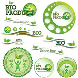 Set of green bio and organic badges Royalty Free Stock Image