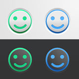 Set of green and blue buttons in the form of a smiling Emoji on light and dark background. illustration for interface. Set of green and blue buttons in the form Stock Photos