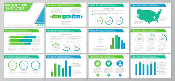 Set of green and blue elements for multipurpose presentation template slides with graphs and charts. Leaflet, corporate Stock Image