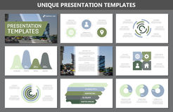 Set of green and blue elements for multipurpose presentation template slides with graphs and charts. Leaflet, corporate Stock Photo