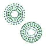Set of green blue mandalas stock illustration
