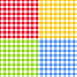 Set of Green, Blue, Red and Yellow Checkered Stock Images