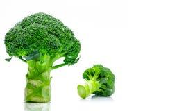 Set of green broccoli Brassica oleracea. Vegetables natural so. Urce of betacarotene, vitamin c, vitamin k, fiber food, folate. Fresh broccoli cabbage  on white Stock Photography