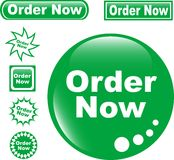 Set green button ORDER NOW glossy. Button ORDER NOW set of glossy green icons royalty free illustration