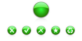 Set green buttons. Six  buttons Royalty Free Stock Photography