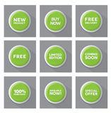 Set of green  buttons Stock Photography