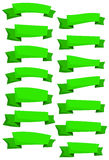 Set of green cartoon ribbons and banners for web design. Great design element isolated on white background. Royalty Free Stock Photography