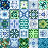 Set of green ceramic tiles. Glazed ceramic mosaic with Moroccan  Royalty Free Stock Images