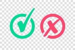 Set of Green Check Mark Icon and Red X cross Tick Symbol royalty free illustration