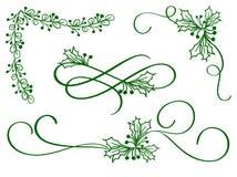 Set of green christmas calligraphy flourish art with vintage decorative whorls for design on white background. Vector. Illustration EPS10 vector illustration