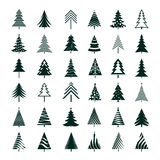 Set of Green Christmas Tree. Vector Illustrations. Stock Images