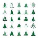 Set of Green Christmas Trees. Vector Icon. Royalty Free Stock Photos