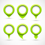 Set of green circle pointers Stock Photo