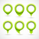 Set of green circle pointers Stock Photo