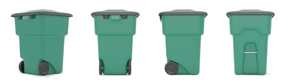 Set green closed container for garbage  on white background. 3d rendering.  Stock Photography