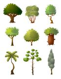 Set of green colorful tree, different type from whole world royalty free illustration