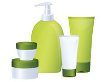 Set of green cosmetic bottles Stock Photo