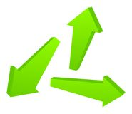 Set of green 3D arrows Stock Image