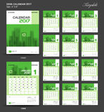 Set Green Desk Calendar 2017 year size  6 x 8 inch template Royalty Free Stock Images