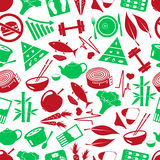 Set of green  diet and healthy life style theme icons seamless green pattern eps10 Royalty Free Stock Image