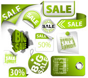 Set of green discount elements Royalty Free Stock Images