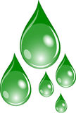 Set of green drops Stock Image