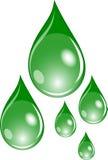 Set of green drops Stock Image