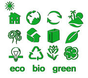 Set of green eco & bio icons, stickers and tags. For web and applications Royalty Free Stock Image