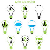 Set of green eco concept, element inside the light bulb Stock Images