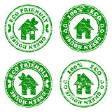 Set of green eco friendly house stamps vector illustration