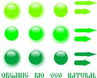 Set of green eco icon and arrow Royalty Free Stock Photo