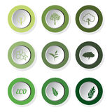 Set of green eco leaf round buttons, vector. Icon Stock Photo