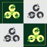 Set green eco logos on colored background. Vector illustration. Royalty Free Stock Images