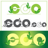 Set green eco logos on colored background. Vector illustration. Royalty Free Stock Photography