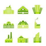 Set of green ecology factory icons Stock Images
