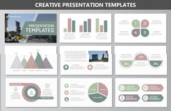 Set of green elements for multipurpose presentation template slides with graphs and charts. Leaflet, corporate report Stock Photo