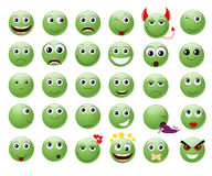 Set of green emoticons. Stock Images