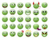 Set of green emoticons. stock illustration