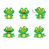Set Green Emotional Frogs Stock Photo