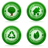 Set of green environmental icons Royalty Free Stock Photos