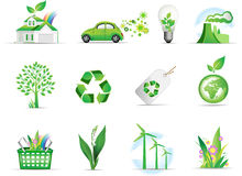 Set of green environmental icons royalty free stock photography