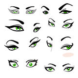 Set Of Green Eyes With Eyebrows With The Expression Of Emotions Royalty Free Stock Photo
